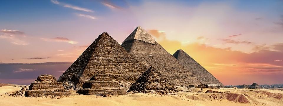 The pyramids of Giza, set against the gorgeous Egyptian dusk